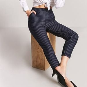 Forever 21 striped high waisted navy pants med